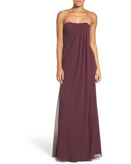 'raquel' Front Slit Strapless Chiffon Gown