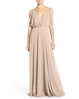 'cassie' Flutter Sleeve Chiffon A-line Gown
