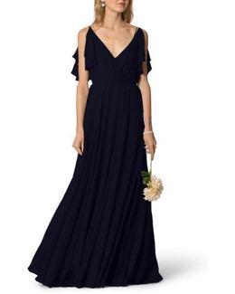 Cassie Flutter Sleeve Chiffon A-line Gown