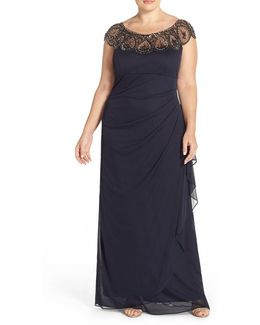 Beaded Neck Empire Gown