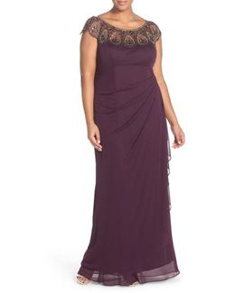 Beaded Jersey Empire Gown