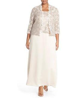 Alex Evening A-line Gown & Lace Jacket