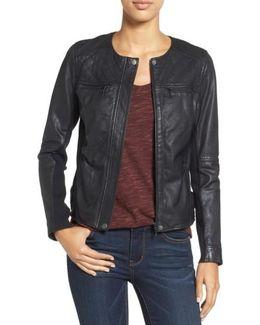 Caslon Collarless Leather Jacket