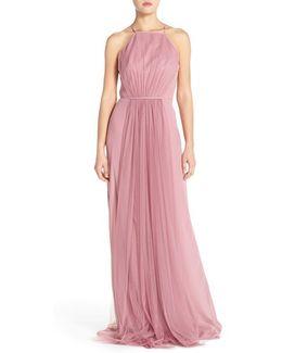 Chiffon & Tulle Halter Gown