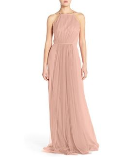 Chiffon & Tulle Halter Gown