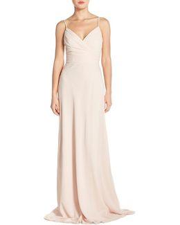 Lace Trim Chiffon Surplice Gown