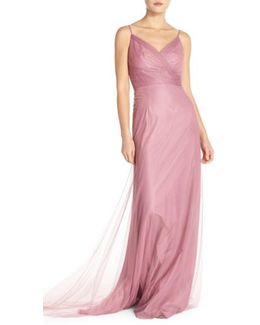 Surplice Tulle Gown