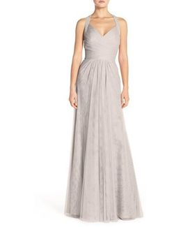 Sleeveless V-neck Tulle Gown