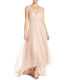 Pleat Tulle V-neck High/low Gown