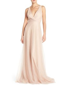 Back Cutout Pleat Tulle Gown