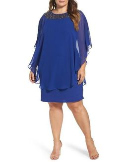 Embellished Chiffon Overlay Jersey Sheath Dress