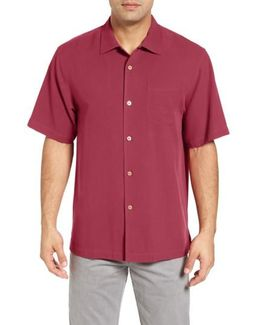 'catalina Twill' Short Sleeve Silk Camp Shirt