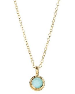 Semiprecious Stone Round Drop Pendant Necklace