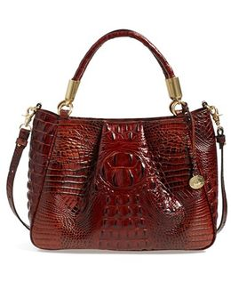 'ruby' Croc Embossed Leather Satchel
