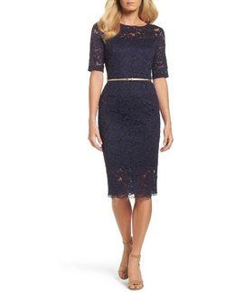 Belted Lace Sheath Dress
