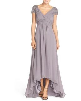 Embellished Pleated Chiffon Gown