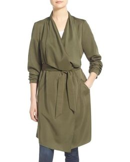 Belted Drape Front Trench Coat