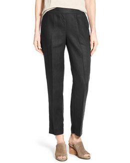 Organic Linen Slim Ankle Pants