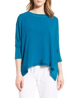 Knit Trim Boxy Silk Poncho Top