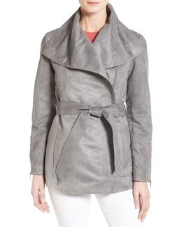 Belted Faux Suede Jacket
