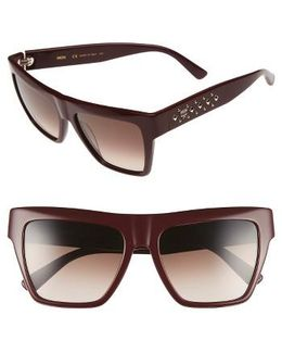 55mm Studded Navigator Sunglasses - Burgundy