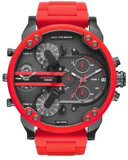 Diesel 'mr. Daddy' Chronograph Silicone Strap Watch
