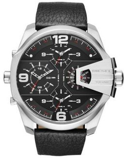 Diesel 'uber Chief' Chronograph Leather Strap Watch
