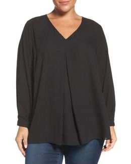 Pleat Front V-neck Blouse