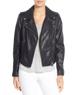 Donna Lambskin Moto Jacket
