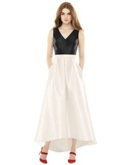 High/low V-neck Sateen A-line Gown