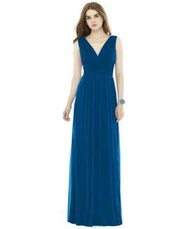 V-neck Pleat Chiffon Knit A-line Gown