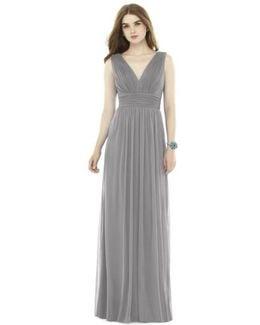 Pleat Chiffon Knit A-line Gown