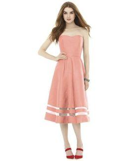 Illusion Stripe Strapless A-line Midi Dress
