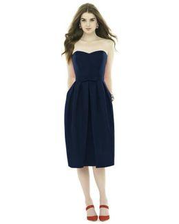 Strapless Peau De Soie Midi Dress With Bow Belt