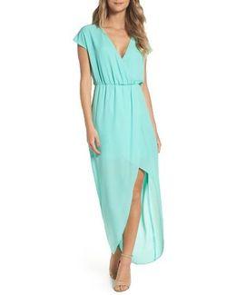 Faux Wrap Woven Maxi Dress