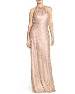 'chandler' Sequin Tulle Halter Style Gown