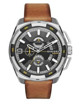 Diesel 'heavyweight' Leather Strap Watch