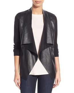 Faux Leather & Knit Cardigan