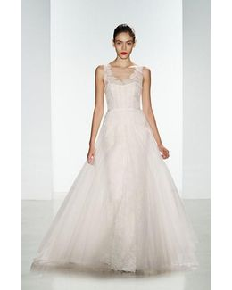 'rae' Corded Lace Gown With Tulle Overskirt