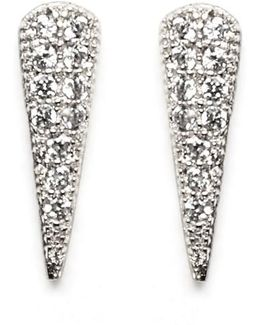 Pave Cubic Zirconia Spike Stud Earrings