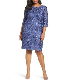 Rosette Lace Sheath Dress