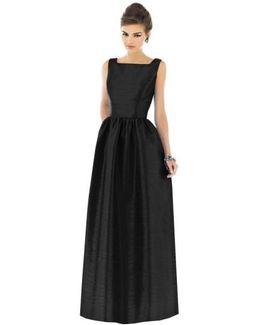 Square-Neck Dupioni-Silk Dress