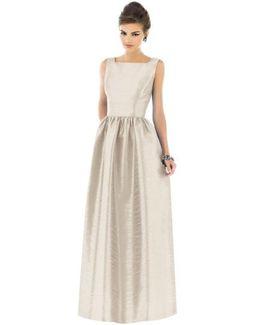 Square-Neck Dupioni Full-Length Dress