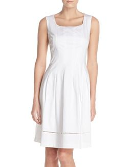 Square Neck Sateen Fit & Flare Dress