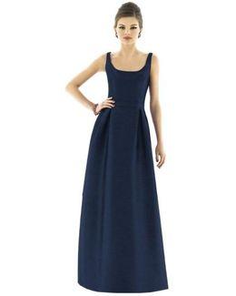 Scoop-Neck Dupioni Full-Length Dress