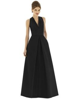 V-Neck Dupioni-Silk Dress
