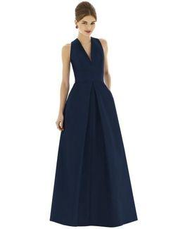 V-neck Dupioni Full-Length A-line Dress