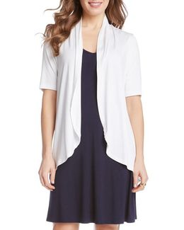 'sophie' Short Sleeve Jersey Open Front Cardigan
