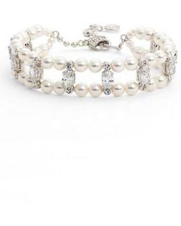 Double Row Imitation Pearl & Crystal Bracelet