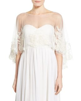Ophelia Embroidered Tulle Capelet